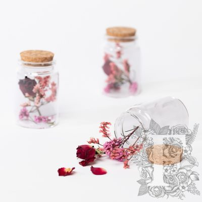 Dried flower - glass vial with cork - Small